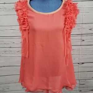 Gorgeous Coral JACKY LUXURY Ruffled Tank Top